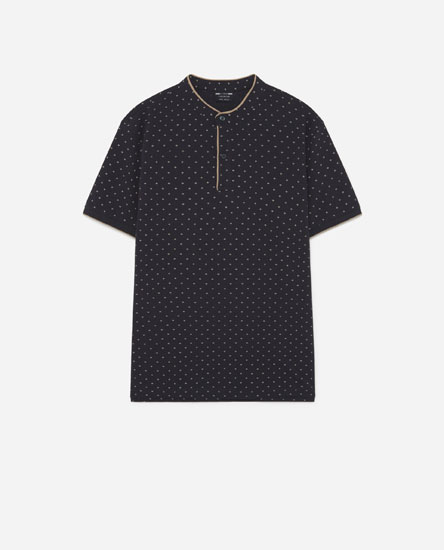 Oxford Polo Shirt with Stand-Up Collar