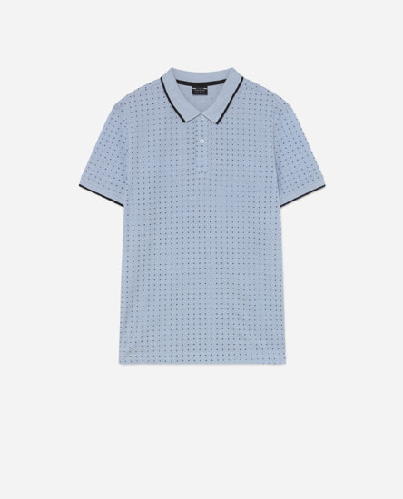 Printed piqué polo shirt