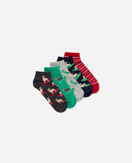 Pack of dog print socks