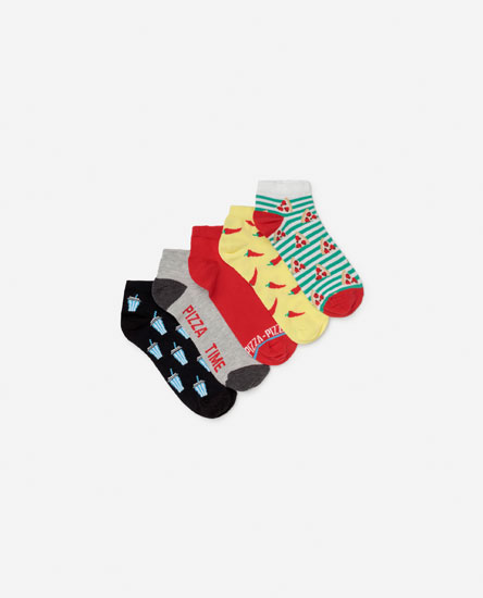 Pack of pizza print socks