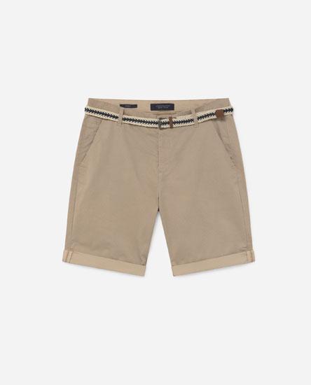 Chino Bermuda Shorts with Belt