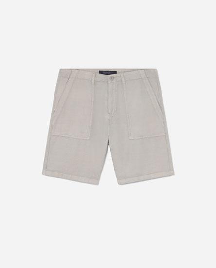 Linen-effect Bermuda shorts