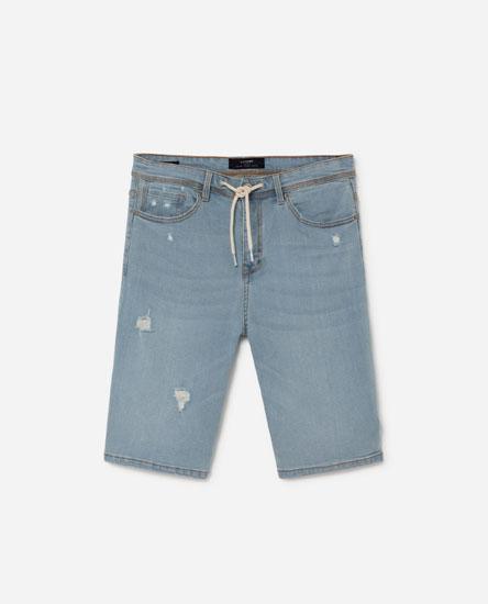 Comfort Slim-Fit Denim Bermuda Shorts