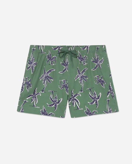 Palm tree print swimming trunks