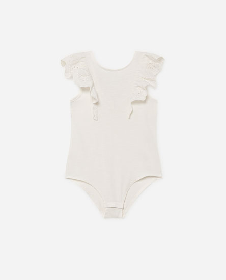 Bodysuit with embroidered ruffles
