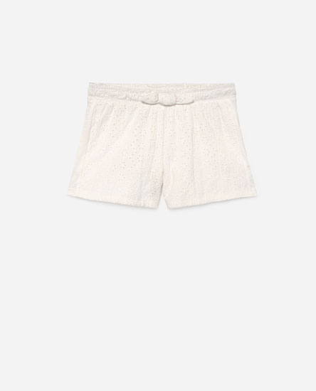 Swiss-embroidered shorts