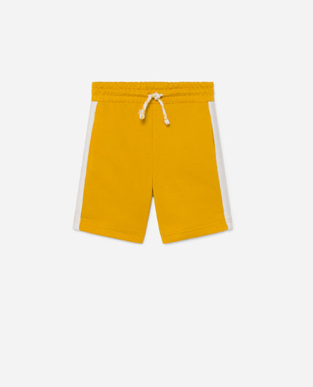 Plush Bermuda shorts with coloured panel