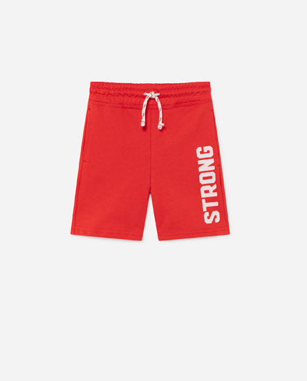 Bermuda shorts with side slogan