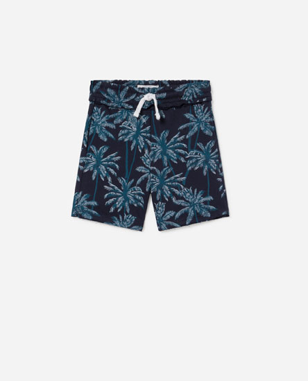 Printed plush bermuda shorts