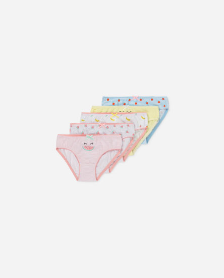 PACK OF 5 PAIRS OF FRUIT PRINT BRIEFS.