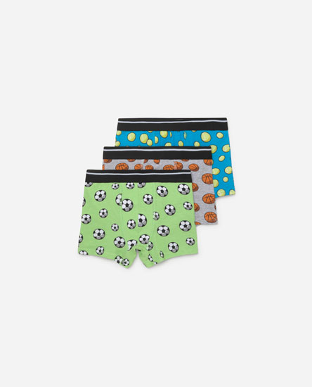 Pack of sports print boxers