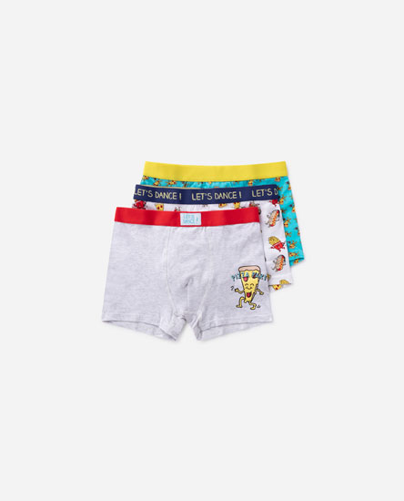 3-pack of pizza print boxers