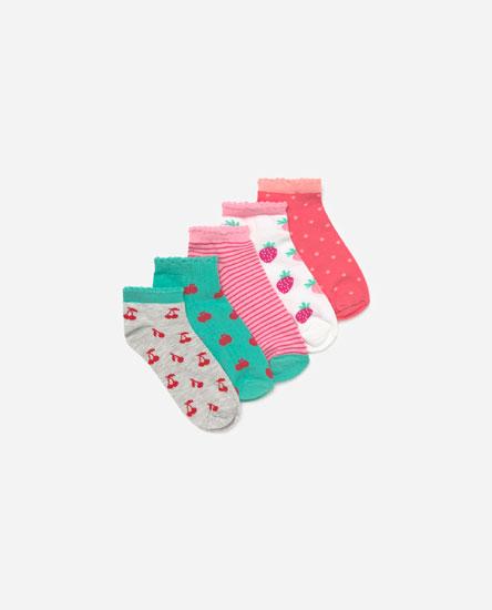 Pack of 5 fruit print socks