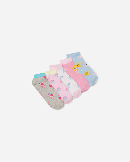 Pack of 5 sea animal print socks