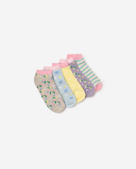 5-pack Of Floral Print Ankle Socks