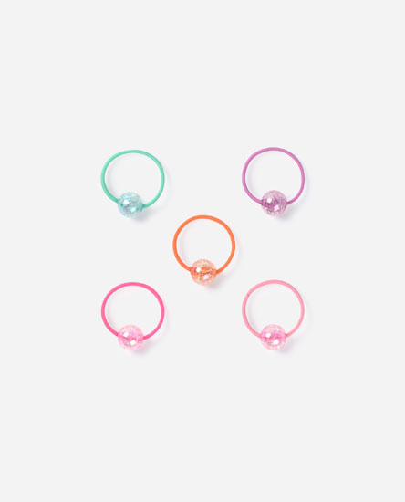 Pack of coloured ball scrunchies