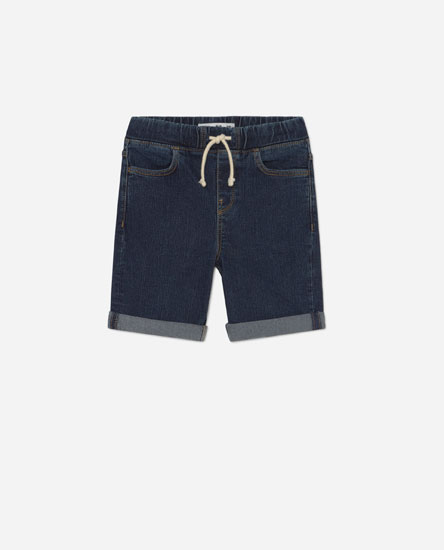 Denim Bermuda shorts with an elastic waistband