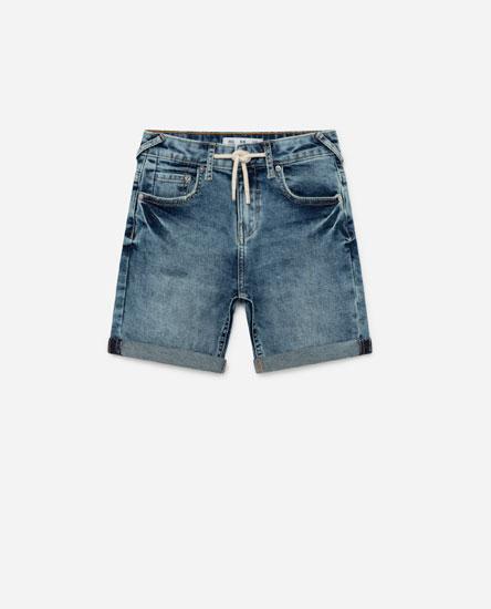 Drawstring denim Bermuda shorts