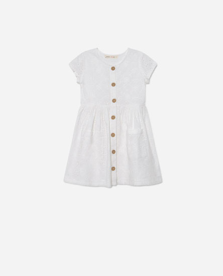 Embroidered button-up dress