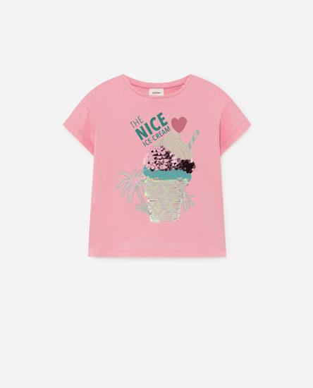 T-shirt com estampado de lantejoulas