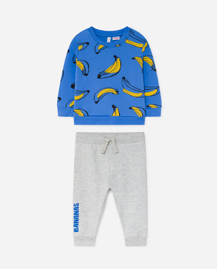 Printed plush sweatshirt and trousers set