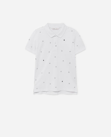 Ghost print polo shirt