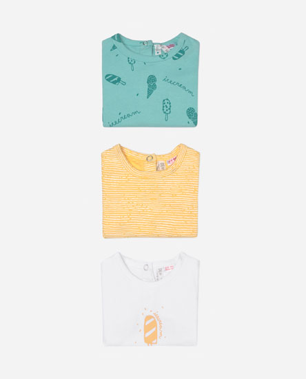 Pack of 3 short sleeve sleepsuits
