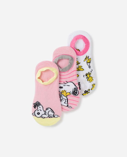 Pack of 3 pairs of Snoopy print pickies socks