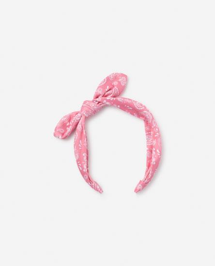Paisley print headband with bow