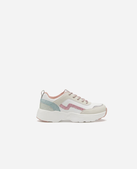 Contrast glittery sneakers