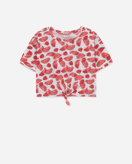 Printed cropped T-shirt