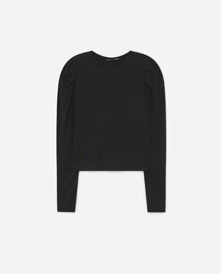 Camiseta canalé manga abullonada
