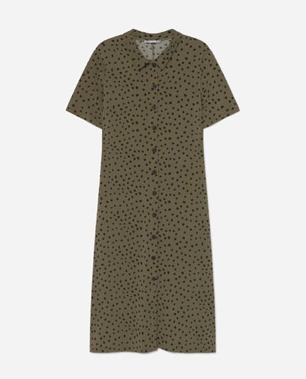Vestido camiseiro con estampado de leopardo