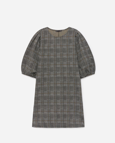 Jacquard dress with puff sleeves