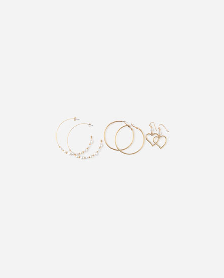 Pack of heart hoop earrings