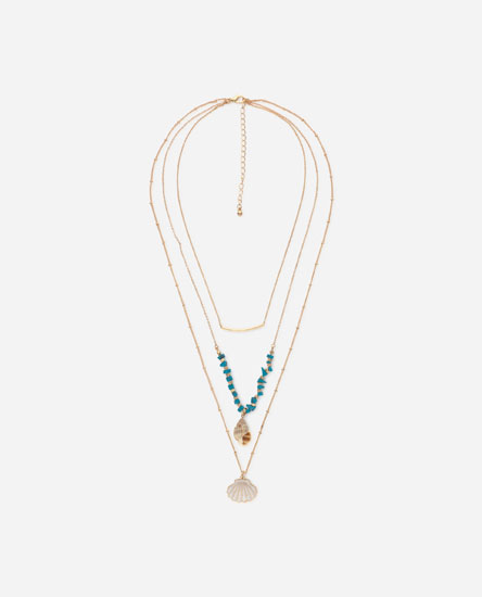 Multi-strand seashell necklace