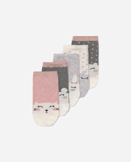Pack of 5 small face print socks