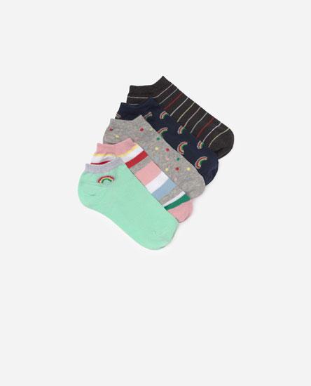 Pack of 5 rainbow socks