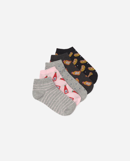 Pack of 5 hot dog motif socks