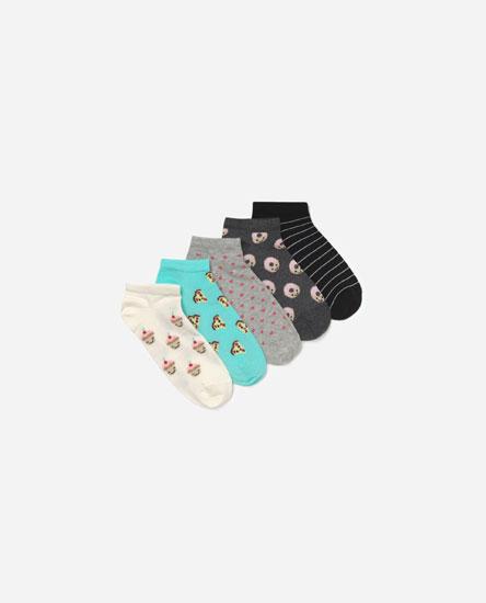 Pack of food print socks