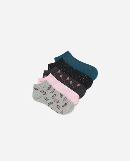 Pack of 5 socks with sweets print
