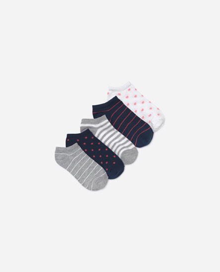 Pack of 5 short printed socks
