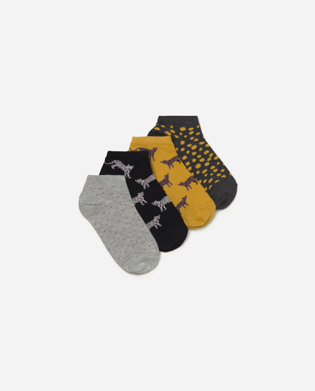 Pack of 4 animal print socks