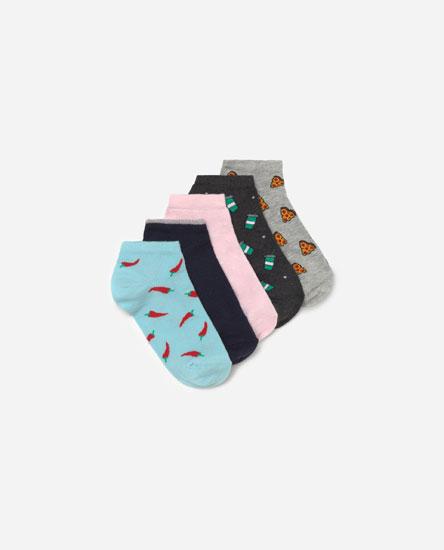Pack de meias com estampado de comida