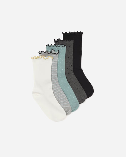 Pack of 5 lettuce-edge socks