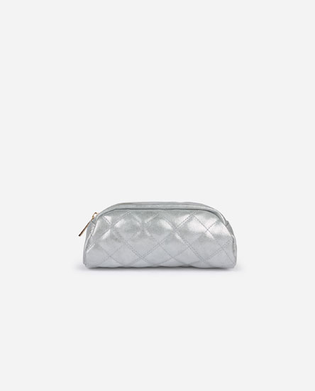 Quilted metallic toiletry bag