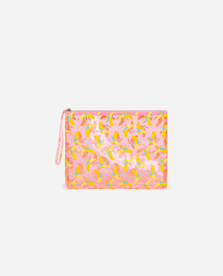 Large banana print toiletry bag