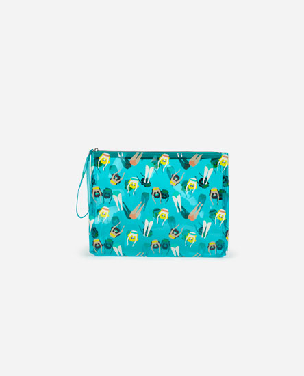 Large swimmer print toiletry bag