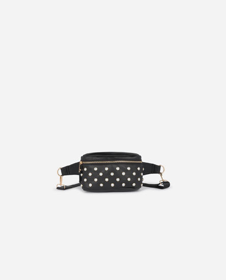 Belt bag with faux pearls