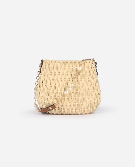 Raffia handbag with faux pearls
